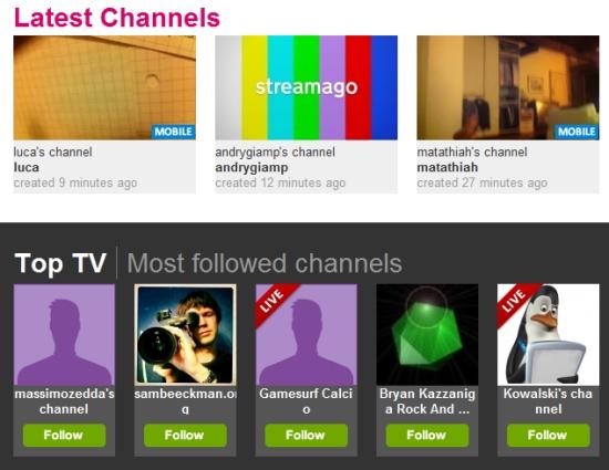 latest channels streamago
